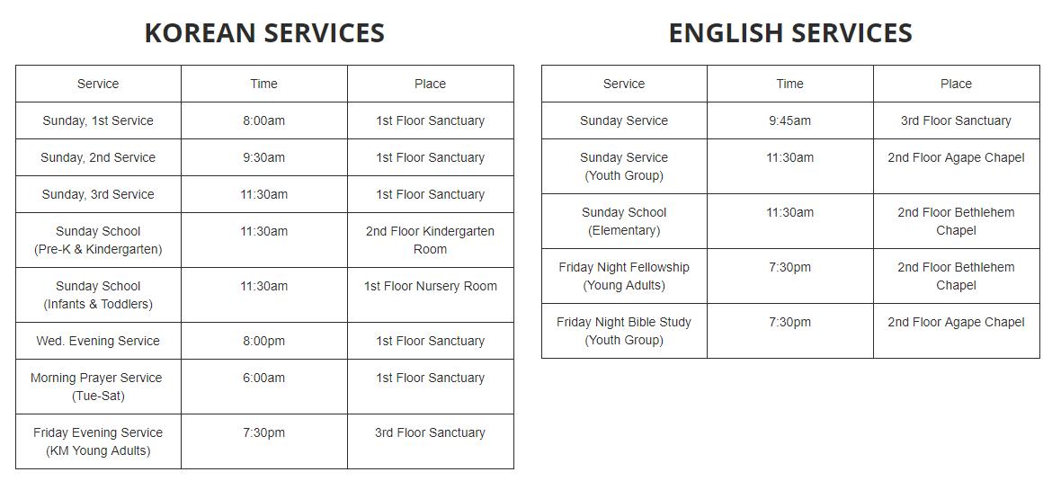 A schedule chart.