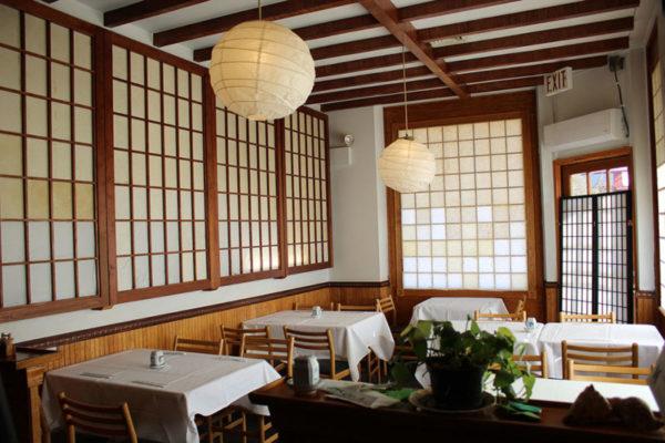 Interior of a restaurant.