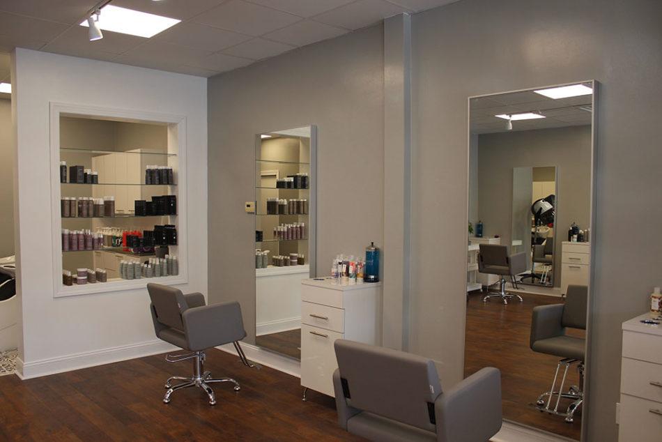 Interior of hair salon.