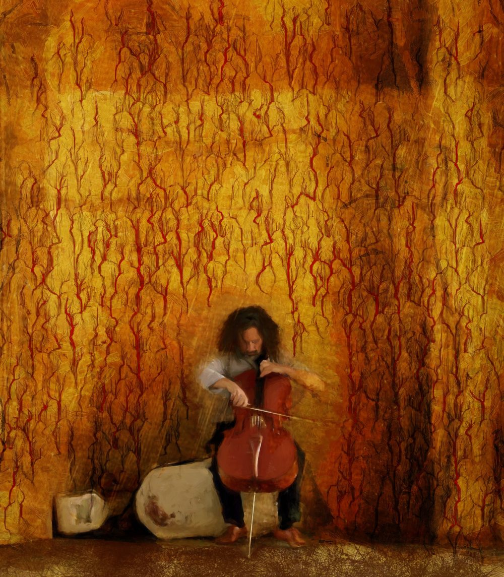 A man with cello painting.