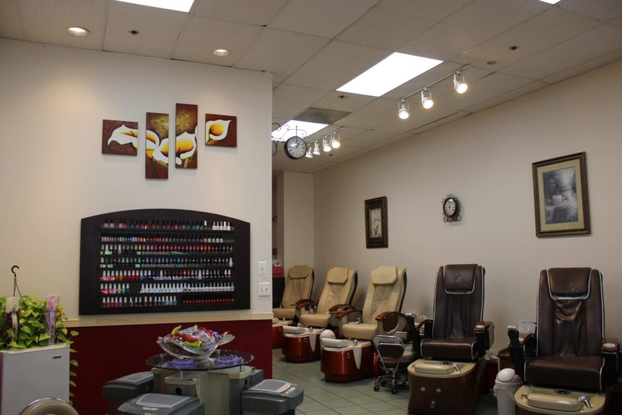 Nail salon interior.